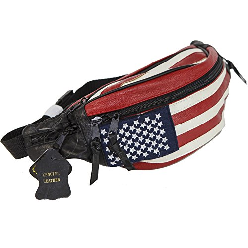 USA Flag Fanny Pack Stars & Stripes Belt Bag Travel Purse Waist Bag Real Leather by Value on Style