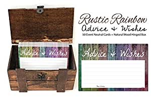 50 Rainbow Shiplap Advice and Wishes Cards with Dark Stained Wood Hinged Box, Wooden Trunk Chest, Any Occasion, Two Grooms or Two Brides Advice Cards, Gay Wedding Advice Cards, Wedding Advice Cards
