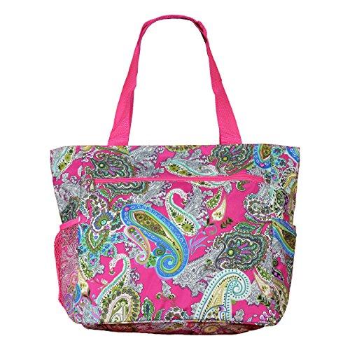Womens Beach Gym Large Shopper Tote Print Travel Weekender Bag School Multi Pink Paisley ErqZwr