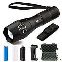 LED Tactical Flashlight - Juzihao JM-T6 Super Bright 1000 Lumens 5 Modes Mini CREE LED Handheld Flashlights Portable Outdoor Water Resistant Torch Ultra Bright Tactical with Rechargeable 18650 Batteries and Charger for Hiking, Biking, Camping andother Outdoor Sports