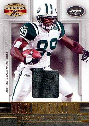 Jerricho Cotchery player worn jersey patch football card (New York Jets) 2007 Donruss Gridiron Next Generation #NG15 LE -
