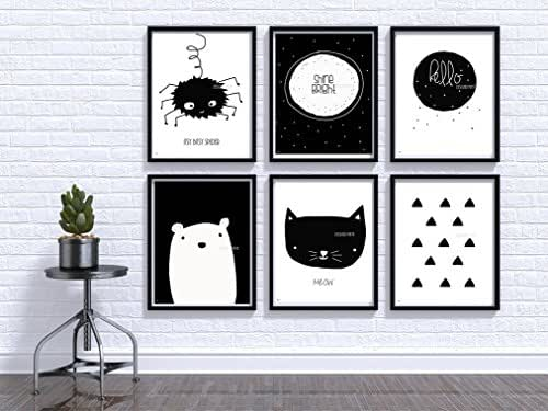 Nursery wall art, Baby room Decor, Children Art, Black and White, Modern, Minimalist nursery, Nordic art, Scandinavian Monochrome Kids, Baby bear