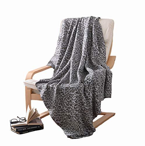 Ancoree Manta de Punto 100% Algodón Estampado de Leopardo Tiro de Felpa Suave Estupenda Manta para Sillón Cama Acogedor y...