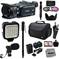 Canon XA30 HD Professional Video Camcorder + Kit with 128GB Memory + LED Light + Mic + Monopod + Bag + Extra Battery
