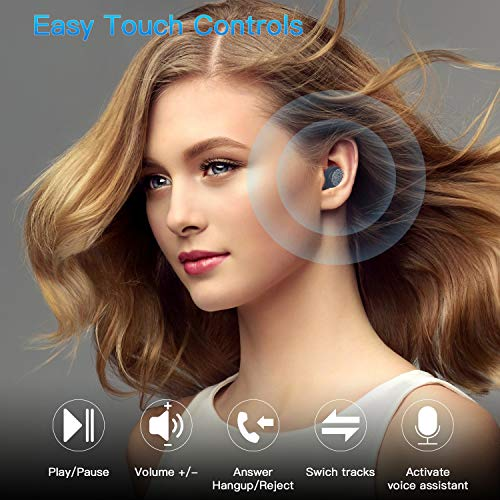 Kurdene Small Wireless Earbuds,Bluetooth Earbuds with Charging Case Bass Sounds IPX8 Waterproof Sports Headphones with Mic Touch Control 24H Playtime for iPhone/Samsung/Android(Royal Blue)