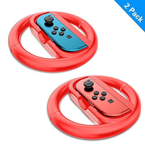 ARCHE Joy-Con Racing Wheel [Upgrade Version] Compatible with Switch Joy-Cons Pack of 2 (Red Color) Steering Wheel Accessory Attachments for Use with Nintendo Switch.