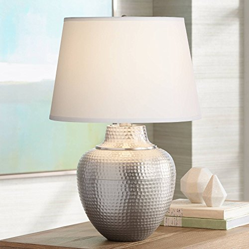 Brighton Modern Table Lamp Hammered Brushed Nickel White Fabric Drum Shade for Living Room Family Bedroom Bedside Nightstand - Barnes and Ivy ()
