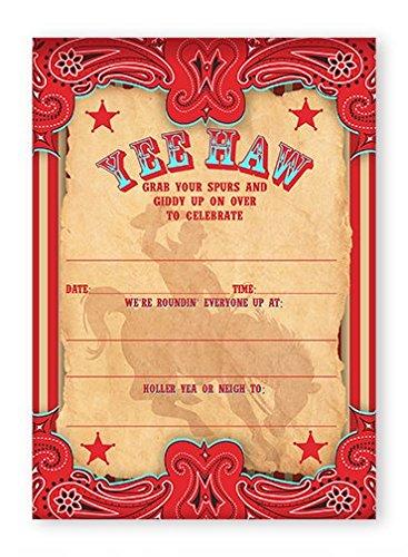 Cowboy Party Invitations - 10 Invitations + 10 Envelopes