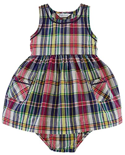 (Ralph Lauren Baby Girls Two Piece Plaid Cotton Dress and Panty Set 24)