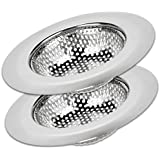 "Kitchen Sink Strainer Basket Catcher (2-pack) - 4.5"" Diameter, Wide Rim Perfect for Most Sink Drains, Anti-Clogging Micro-Perforation 2mm Holes, Rust Free, Dishwasher Safe"