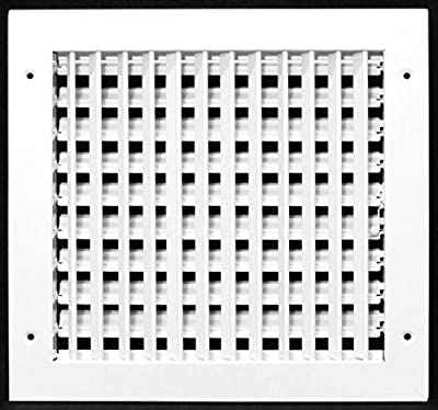 """14"""" X 12"""" ADJUSTABLE AIR SUPPLY DIFFUSER - HVAC Vent Cover Sidewall or Ceiling - Grille Register - High Airflow - White [Outer Dimensions: 15.75""""w X 13.75""""h]"""