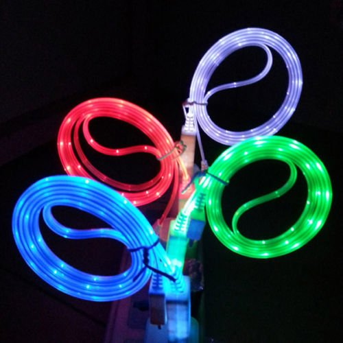 Visible Glow in The Dark LED Light Micro USB Charger Data Sync Cable for HTC Samsung S5 S4 S3 Android (4-Pack (1 of Each Color)) (Usb Cable Glow In Dark S5)
