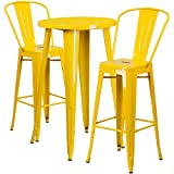 Flash Furniture 24'' Round Yellow Metal Indoor-Outdoor Bar Table Set with 2 Cafe Stools