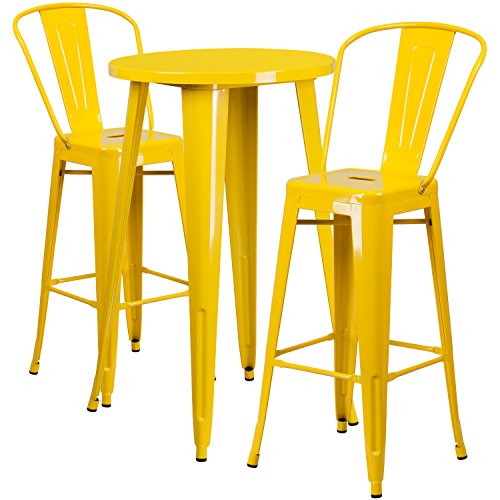 (Flash Furniture 24'' Round Yellow Metal Indoor-Outdoor Bar Table Set with 2 Cafe)