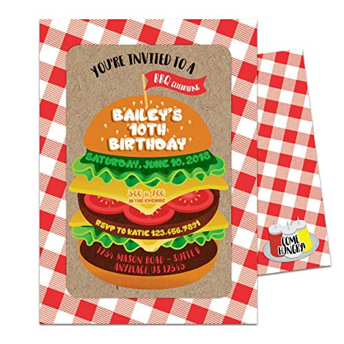 Cheeseburger Cookout Invitations Birthday Bridal Wedding Baby Shower