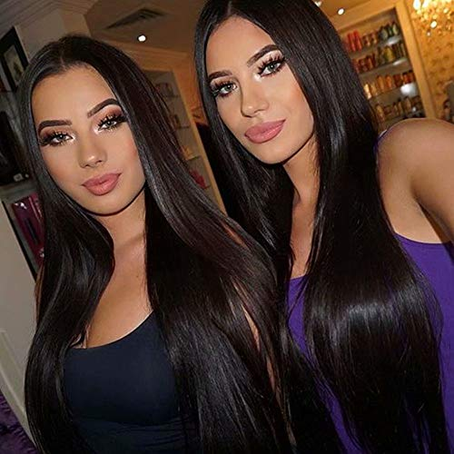 Maxine Brazilian Remy Human Hair Straight Lace Front Wigs 130% Density Brazilian Remy Human Hair Adjustable Wigs with Baby Hair for Black Women (18inch, Straight)