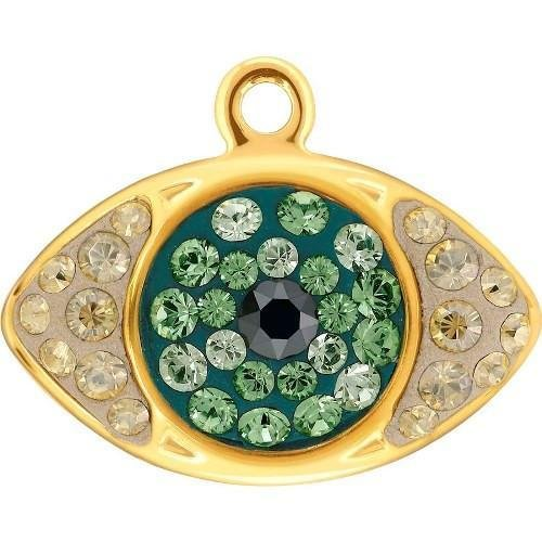 67544 Swarovski Pendant Pave Eye | Jet Hematite & Erinite & Chrysolite - Gold | 8.5mm - Pack of 1 | Small & Wholesale Packs
