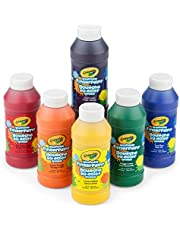 Crayola 6 Count 8 oz. Washable Kids Finger-Paints Features 3 Bold Primary Colors & 3 Bright Secondary Colors. Great Art Supplies for Kids