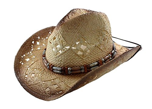 Tea Stained Western Cowboy Hat With Orange & Silvery Beaded Band