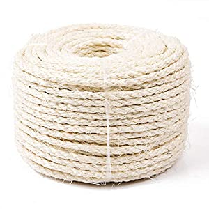 Yangbaga Cat Natural Sisal Rope for Scratching Post Tree Replacement, Hemp Rope for Repairing, Recovering or DIY Scratcher, 6mm Diameter, Come with a Sisal Ball 33FT 37