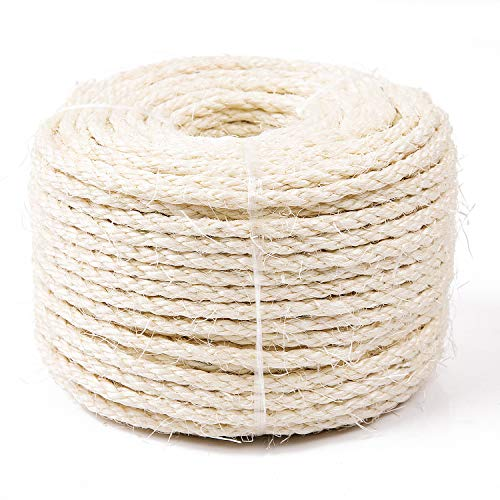 Yangbaga Cat Natural Sisal Rope for Scratching Post Tree Replacement, Hemp Rope for Repairing, Recovering or DIY Scratcher, 6mm Diameter, Come with a Sisal Ball - Sisal Cat