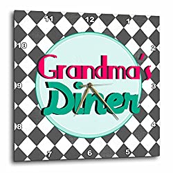 3dRose Grandmas Diner Sign on black and White Diamonds Retro Hot Pink Aqua Teal 1950S 50S Fifties Kitchen - Wall Clock, 13 by 13-Inch (dpp_151652_2)