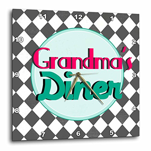 2 Retro Signs (3dRose Grandmas Diner Sign on black and White Diamonds Retro Hot Pink Aqua Teal 1950S 50S Fifties Kitchen - Wall Clock, 13 by 13-Inch (dpp_151652_2))