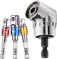 "105 Degree Right Angle Drill Bit Adapter Attachment 1/4"" Drive 6mm Hex Magnetic Bit Socket Power Screwdriver Drill + 3Pcs..."