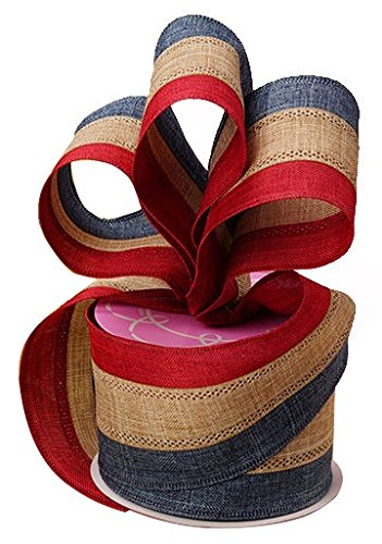 Rustic Patriotic Burlap Striped Ribbon - 2 1/2