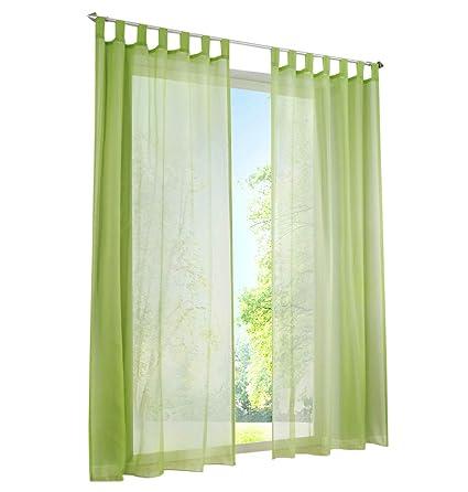 1Pièce Rideau Voilage LxH/140x175cm Couleur Uni Vert Rideaux à Pattes  Décoration de Fenêtre Chambre / Salon / Balcon