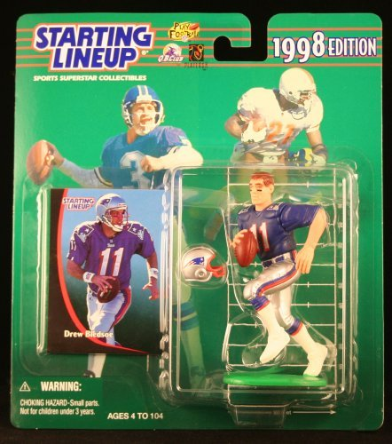 DREW BLEDSOE / NEW ENGLAND PATRIOTS 1998 NFL Starting Lineup Action Figure & Exclusive NFL Collector Trading Card