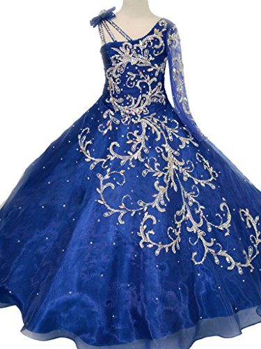 Christmas Pageant Wear (GreenBloom Little Girls' Bowknot One-shoulder Long Sleeves Beaded Sequins Embroidery Pageant Ball Gown Evening Dress Blue)