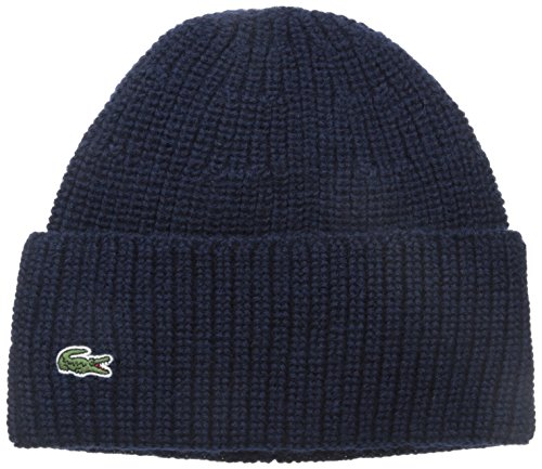 (Lacoste Men's Rib Knitted Contrast Beanie, Navy Blue, One Size)