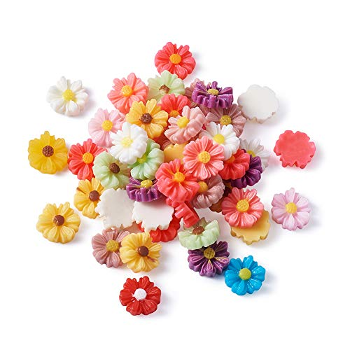 Beadthoven 50pcs 9mm Resin Flower Cabochons Mixed Colours Tiny Daisy Flat Back Charms Mini Flowers Cameo Charms Jewelry Embellishment Supplies for Gluing DIY Jewelry Earrings Rings