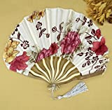 White Red 30Pcs/Lot Personalized Chinese Japanese Folding Hand Fan Fabric Floral Wedding Party Supplies