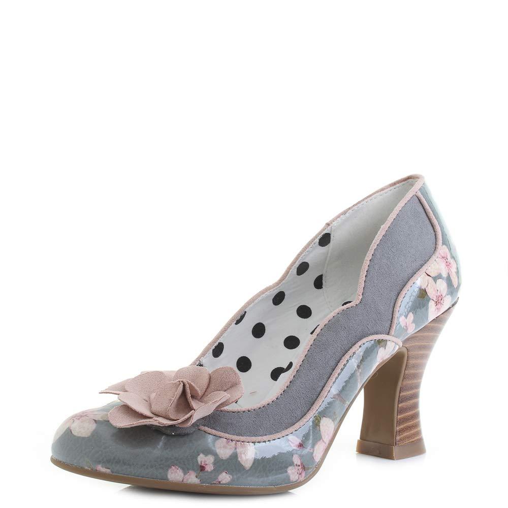 Grau   AltRosa Ruby Shoo Damen Schuhe lila Floral Blaumen Flower Lack Pumps Geschlossen