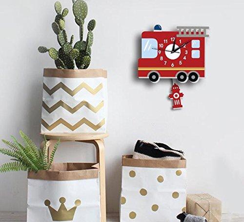 Sportskindom American fire truck wall clock Slient quartz wall clock children's background wall cartoon decoration (1) by Sportskindom (Image #4)