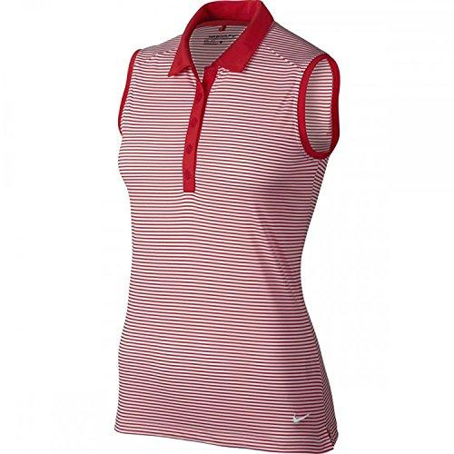 Nike Women's Golf Victory Stripe Sleeveless Polo Red White 725600 696 (m)