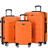 Resena 3 Pieces Hardside Spinner Luggage Sets ABS Travel Lightweight Carry On Suitcase (20'' 24'' 28'' Standard Size) (Orange)