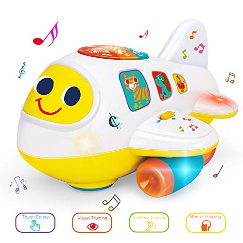 YGJT Baby Music Toys Electronic Airplane Toys Bump and Go Plane with Lights Music Sounds Activity Play Center, Kids Early Learning Educational Toys for Toddlers Boys and Girls 1 2 3 Year Old ()