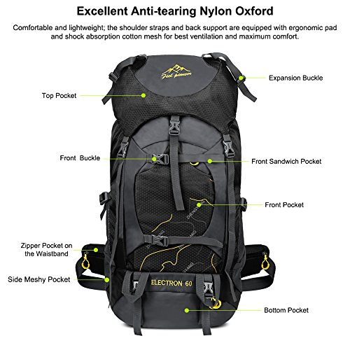 Vbiger 60L Outdoor Backpack Waterproof Backpacking Pack Travel Daypack for Climbing, Hiking, Trekking, Mountaineering, with Rain Cover (Black) by VBIGER (Image #1)