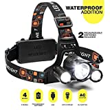 Headlamp - Head lamp - New 2018 Led Rechargeable Headlamp Flashlight With 18650 Battery - Bright Waterproof Headlamp for Camping Hunting Running Hiking - Outdoor Led Headlight Flashlight - Black for $32.99.
