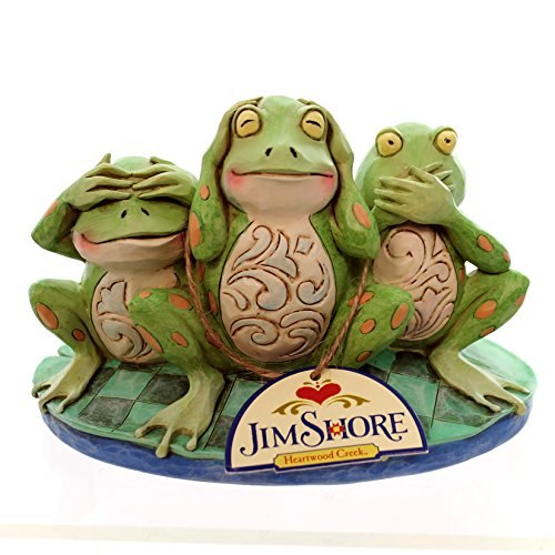 Jim Shore Frog - Jim Shore for Enesco Heartwood Creek Frogs See Hear Croak No Evil Figurine, 4