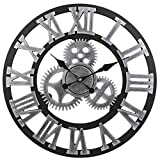 gears wall clock - 3D Gear Wooden Wall Clock SOLEDI Vintage Handmade Retro Roman Numerals Silent Sweep Non-ticking Large Decorative for Living Room Office Bar Home Decor Gift (Roman Silver)