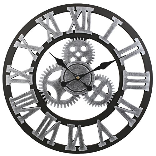 Soledi Vintage Wall Clocks European Retro Vintage Handmade 3D Decorative Gear Wooden Mechanism Wall Clock With Movements (Roman Silver)
