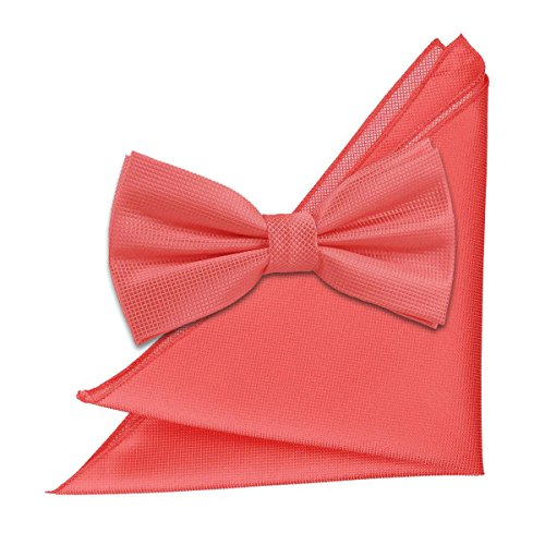 Square and Pocket Tie Men Bow Coral Solid Check DQT Pgnx81P