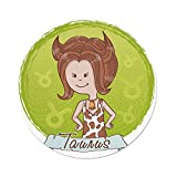 iPrint Polyester Round Tablecloth,Taurus,Cute Cartoon Little Girl Dressed Like Cow Spots Horns Image Decorative,Light Caramel Apple Green,Dining Room Kitchen Picnic Table Cloth Cover Outdoor in