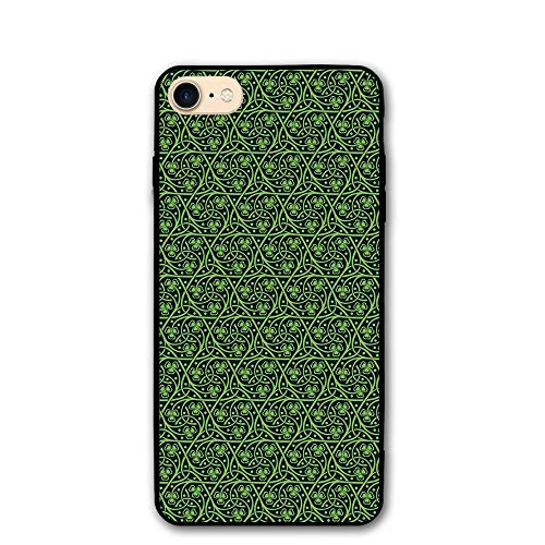 Haixia IPhone 7/8 Shell 4.7 Inch Irish National Foliage Pattern Intricate Twigs Dots Trefoil Botanical Abstraction Black Lime ()
