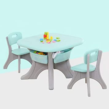 Amazon Com Scdzz Table And Chairs Set Baby Study Table And Chair Set Kindergarten Study Writing Desk Home Game Table Chair Environmentally Color Green Kitchen Dining