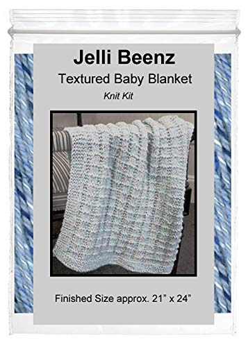 Jelli Beenz テクスチャーベビーブランケットニットキット - スーパーソフト シャンブレーブルー   B07L9D74YT